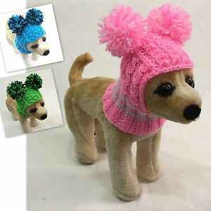 Handmade Knit Clothes Pompom Winter Hat for Dogs / Pets Size XXS, XS, S
