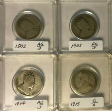1902, 05, 07 and 15 - CANADA 25 cents - LOT OF 4 (hard to collect) ~ REPRICED !