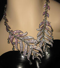 BETSEY JOHNSON Ballerina Rose Pink Feather Silver-Tone Collar Necklace