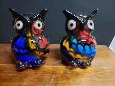 PAIR DALE TIFFANY ART GLASS Multi Color OWL FIGURINES
