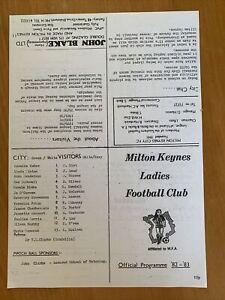 Milton Keynes City Ladies v Luton Ladies 1982-83 Programme