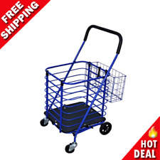 Grocery Shopping Laundry Cart Portable Utility Heavy Duty With Accessory Basket