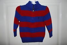 NWT Ralph Lauren Boys Rugby Stripe Cardigan Sweater Navy Red 18M 18 Months