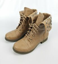 Pink & Pepper 'Conquest' Womens Tan Studded Fashion Ankle Boots Retail $90 Sz 6