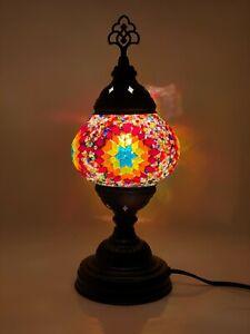 Turkish Moroccan Black Colour Stand Tiffany Glass Desk Table Lamp + Free Bulb