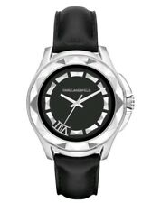 Karl Lagerfeld KL1037 Black Leather Faceted Bezel Unisex Watch