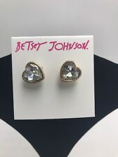 $25 Betsey Johnson  Rose Gold-Tone Little Angel Heart Stone Stud Earrings #204