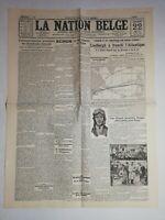 N1019 La Une Du Journal La Nation belge 22 mai 1927 Lindbergh Atlantique