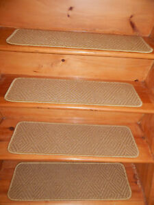 "14 STEP 9"" x 30"" + Landing 30"" x 30"" Sisal Natural Carpet Stair Treads."