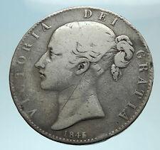 1845 UK Great Britain United Kingdom QUEEN VICTORIA Crown Silver Coin i79112