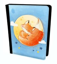 The Sleeping Moon Fox Cute Sweet Lovely Hand Draw Tablet Leather Case Cover