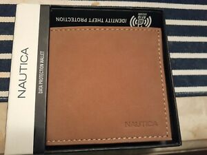 "Nautica men""s bifold tan wallet"