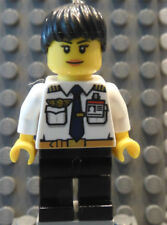 LEGO Female Girl Airline Pilot White Top with Wings & ID Badge Black Hair & Legs