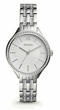 NWT Fossil Suitor Stainless Steel BQ3115 Silver Tone Crystal Women's Watch $155