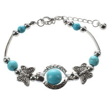 Stones Charm Turquoise Bracelets Bangles Silver plated Bracelets For Women H7S1