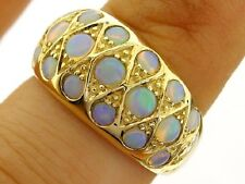 R134 Heavy Genuine 9ct SOLID Gold NATURAL Australian Opal Domed DOME Ring size O
