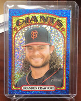 2021 Topps Heritage Baseball Brandon Crawford Blue Sparkle Mega Box #372 Giants