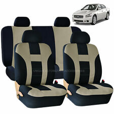 BEIGE & BLACK DBL STITCH SEAT COVERS & BENCH 8PC SET for NISSAN MURANO SENTRA
