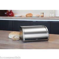 Brabantia Roll Top Bread Bin Medium Compact Small Space Saving Matt Steel