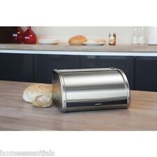 Brabantia Roll Top Bread Bin Medium Compact Small Space Saving Matt Steel