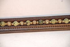 """15"""" (Cob) Brown Browband w/Green Edge Stone and Floral Antique Gold Beads"""
