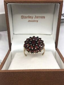 9ct Yellow Gold 1977 Garnet Cluster Ring