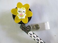 ID BADGE RETRACT REEL YELLOW HELLO KITTY PERSONALIZED,MEDICAL,NURSE,OFFICE,ER