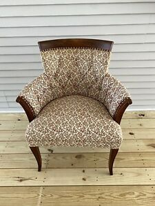 Vintage Antique Wingback Armchair Victorian Style Wood Framed Floral Pattern
