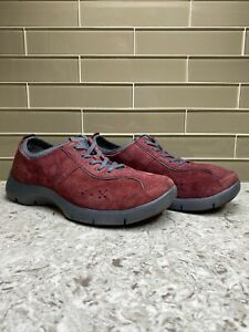 Dansko Red Leather & Suede Lace Up Shoes Clogs 4401881024 EUR 39 / US 8.5