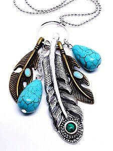 Turquoise Feathers Pendant Bohemian Retro Silver & Bronze Toned Long Necklace