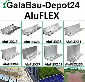 AluFLEX 10-200cm Randbefestigung Pflasterkante Rasenprofil Winkelprofil L-Profil