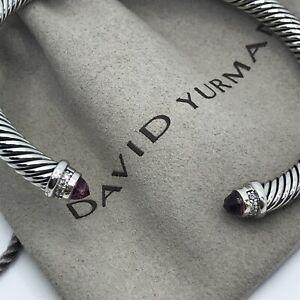 David Yurman 925 Sterling Silver Pink Tourmaline & Diamond 5mm Cuff Bracelet