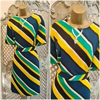 PAPAYA UK 14 BNWOT Bold Colourful Striped Smart Fitted Dress Quirky Retro