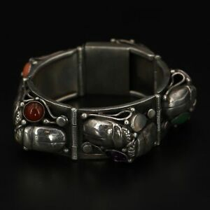 "VTG Sterling Silver - HEAVY Egyptian Scarab Beetle 7"" Statement Bracelet - 85g"