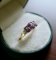 Vintage Jewellery Gold Ring Amethyst White Sapphires Antique Deco Jewelry T