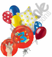 7 pc You're 3 Today Fingers Red Balloon Bouquet Party Decoration 3rd Birthday
