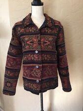 Coldwater Creek Plus Sz 1X Floral Tapestry Style Jacket Blazer Autumn Gold Navy