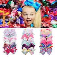 6 Pcs/Set Big Rainbow Printed Knot Ribbon Bow Hair Chip For Kids Girls Toddler