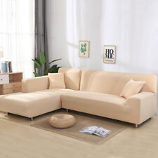 2pcs Sofa Covers Polyester Fabric Stretch Slipcovers for L Sectional sofa Beige