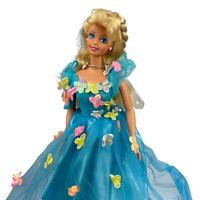 Vintage 90's Songbird Barbie Doll 1995 Mattel Blonde Floral Blue Dress