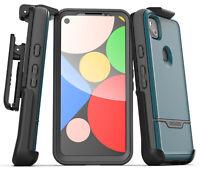 Google Pixel 4a Case w Built-In Screen Protector & Belt Clip Holster - Blue