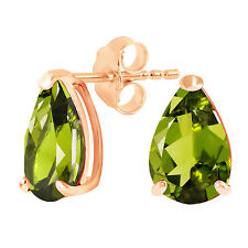 3 Carat 14K Solid Rose Gold Allure Peridot Stud Earrings