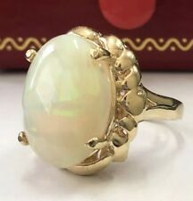 4.60 Carat Natural Ethiopian Opal in 14K Solid Yellow Gold Women Ring