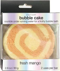 Body & Earth Fresh Mango Bath Bubble Cake Crumbling Soap Bar 2.8 oz NEW