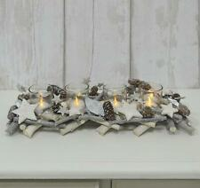 Grey Christmas Candle Holder Wood Twigs Silver Stars 4 Glass Tealight Jars 40cm