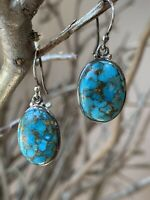 Vintage 925 Sterling Silver Oval Cabochon Turquoise Earrings