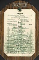 PINES Restaurant Bar Menu Hyatt Hotel 1985