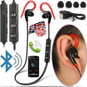 SWEAT PROOF WIRELESS BLUETOOTH EARPHONE HEADPHONES SPORT GYM FOR iPHONE SAMSUNG