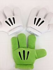 Lot Disney Parks Mickey Mouse Pair Gloves Plush Hands Costume 2 White 1 Green