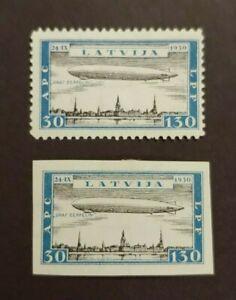 1933 ZEPPELIN 30+130 PERF + IMPERF VF MLH LATVIJA LATVIA WK7.6 START $0.99